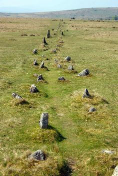 Ceremonial stone row, Dartmoor, Devon, England One of many historic stone remains that give Dartmoor such a mystical feeling. Stonehenge, Cairns, Dartmoor National Park, Devon England, Devon And Cornwall, English Countryside, British Isles, Ancient History, Great Britain