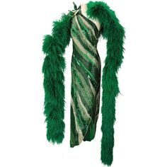 Nolan Miller Emerald Green Beaded Gown and Ostrich Feather Boa | Lot... ❤ liked on Polyvore featuring accessories, ostrich feather boa, emerald green boa and nolan miller