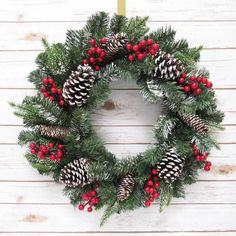 The Holiday Aisle Frosted Holiday Mixed Pine, Pine Cones & Berry Wreath Christmas Wreaths To Make, Christmas Door Decorations, Holiday Wreaths, Christmas Crafts, Holiday Decor, Christmas Cookies, Christmas Time, Holiday Ideas, Traditional Christmas Tree