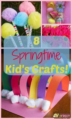 This has been one long, cold winter and I know we are all looking forward to spring! So, here are 8 fun and easy kid's Springtime crafts you can do to get the kids out of the winter doldrums and get them looking ahead to beautiful spring weather! Spring Activities, Craft Activities For Kids, Projects For Kids, Diy For Kids, Easter Projects, Craft Ideas, Easter Crafts, Art Projects, Daycare Crafts