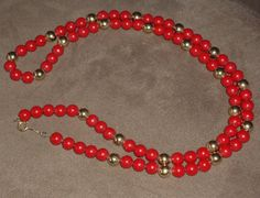 Napier Necklace Red Plastic Beaded & Gold Tone by outoftheattic2u,