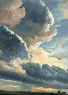 Alexandre-Clément Denis | Study of Clouds with a Sunset near Rome (detail), c. 1786.