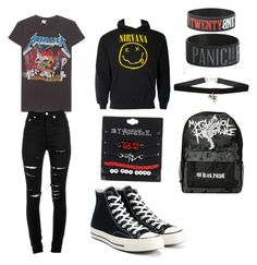 """""""The mess that I wear everyday"""" by homophobiaisgay01 ❤ liked on Polyvore featuring MadeWorn, Yves Saint Laurent, Converse and Hot Topic"""