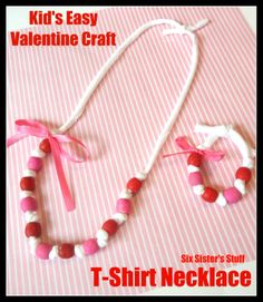 Easy Valentine's Kid Craft: T-Shirt Necklaces  from SixSistersStuff.com
