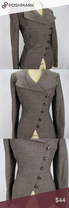 Tahari wool Asymmetrical Button Up Blazer Brown 10 Gorgeous women's size 10 Tahari asymmetrical button front brown blazer/coat. No flaws or notable wear! Bust: 39 Shoulder: 16.5 Length: 23 Sleeve: 24 Waist: 36 Tahari Jackets & Coats Blazers