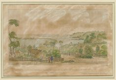 Sketch of Perth and Melville Waters, with Mount Eliza from the main street of Perth, Western Australia C. Wooden Buildings, Historical Pictures, Western Australia, Windmill, Main Street, Perth, Vintage World Maps, The Past, History
