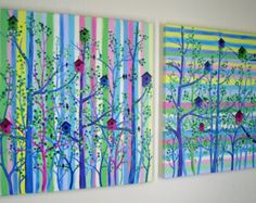 Large Bird House Tree Painting Nursery Child's Room Over the Bed Contemporary Modern Abstract Acrylic on Canvas diptych 20x40 JMichael - Edit Listing - Etsy