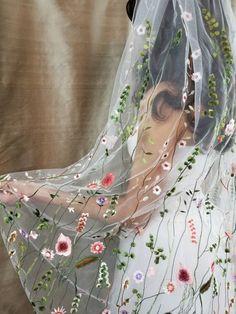De Vine Floral Bridal Veil with Blusher De Vine bridal veil, now with blusher, i. De Vine Floral Bridal Veil with Blusher De Vine bridal veil, now with blusher, is a breath of spring air no matter t Wedding Trends, Boho Wedding, Wedding Gowns, Dream Wedding, Floral Wedding Dresses, Bridal Veils, Wiccan Wedding, Wedding Hair Floral Crowns, Wedding Flowers