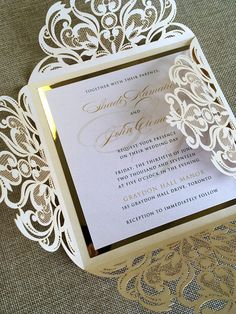 Gold Foil and Ivory Laser cut Wedding Invitation with custom