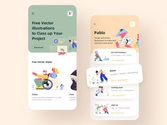 Illustration material application designed by C_Clin. Connect with them on Dribbble; Ui Design Mobile, Mobile Application Design, App Ui Design, User Interface Design, Flat Design, Design Design, Motion Design, Design Thinking, App Design Inspiration