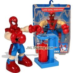 ToyBiz Year 2006 Marvel Spider-Man & Friends Super Heroes Series 6 Inch Tall Figure - SUPER SWING SPIDER-MAN with Punching Bag Backpack