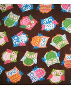 Multi-tossed owls fleece fabric from Jo-Ann