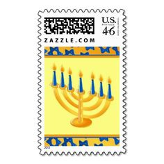 Hanukkah Menorah Postage Stamp