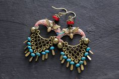 Bohemian Brass Earrings with Bells and a Bumble Bee Charm, Turquoise and Red, Chandelier Design, Unique Gypsy Style Jewelry, Upcycled Metal