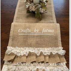 Embroidery farmhouse house table runner | Etsy Crochet Table Runner, Crochet Tablecloth, Farmhouse Table Runners, Burlap Fabric, Ecru Color, Vintage Farmhouse, Kitchen Colors, Vintage Table, Vintage Crochet