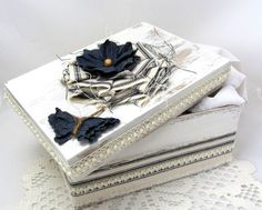 Navy and White Box  Decorative Box  Cottage Chic  Flower