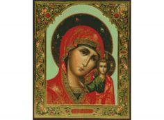 Стразы «Казанская икона Божией Матери»  Иконы, иконы бисером, иконы стразами - Zvetnoe.ru - раскраски по номерам, алмазная вышивка, вышивка бисером, вышивка крестом