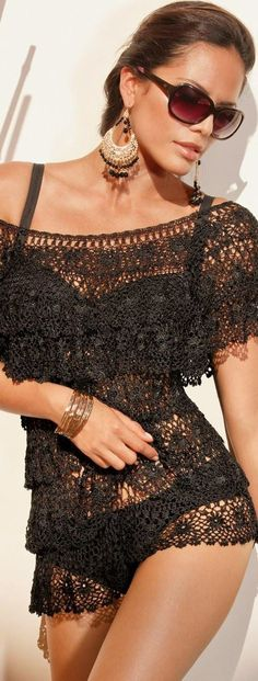 Black Lace Swimsuit Coverup