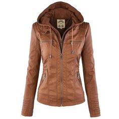 Cheap Leather Jacket Fashion Fall Winter Faux Leather Detachable Fake Two-piece Hood Zipper Jackets Coat Leather Clothing For Big Sale!Leather Jacket Fashion Fall Winter Faux Leather Detachable Fake Two-piece Hood Zipper Jackets Coat Leather Clothing Leather Jacket With Hood, Faux Leather Jackets, Pu Leather, Leather Coats, Suede Coat, Vegan Leather, Brown Leather, Blazer Marron, Coats For Women