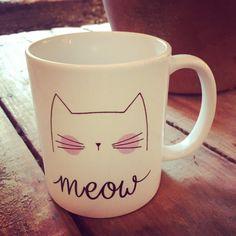 Mug Meow mug chat café mug chat cadeau chat cadeau par Platesplease