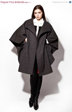 Vintage 1970s Charcoal Gray Wool Batwing Cape by THRIFTEDandMODERN, $195.00, women's fall winter fashion outerwear