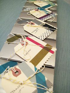 washi tape gift tags .