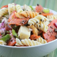 I love a good Italian Pasta Salad....it's a perfect summer dish to serve to company with grilled chicken and corn on the cob. I am going to make one with brown rice pasta.