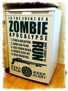 Zombie Apocalypse Fridge/Wall Art Sticker......this is a NECESSARY addition to my home decor.