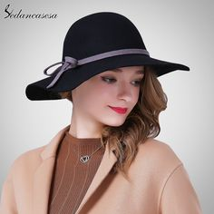 Fashion Autumn Winter Ladies Wide Brim Hats With Bow Elegant Black Trilby Hat Great, huh? #shop #beauty #Woman's fashion #Products #Hat