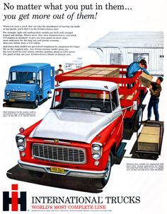 vintascope:  International Trucks, 1960  And then you slap in a V8 engine, scoops, fancy exhausts, and a nitrous set, and you'll have the fanciest rig in the yard.