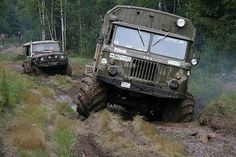 Russian trucks Gas-66 and Uaz-469