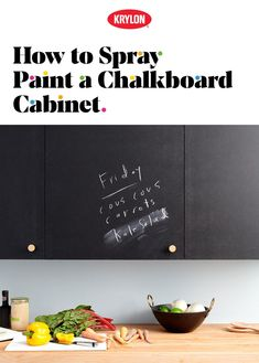 Bring a little piece of the classroom to your kitchen. Chalkboard cabinets are excellent for notes, grocery lists, recipes and doodles. Who says drawing is only for kids? Krylon Color Used: Chalkboard Paint Black (Cabinet) Chalkboard Paint Kitchen, Chalkboard Spray Paint, Black Chalkboard, Diy Chalkboard, Painting Kitchen Cabinets, Kitchen Cabinetry, Refurbished Furniture, Diy Furniture, Krylon Colors