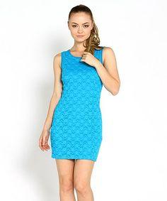 Look at this #zulilyfind! Teal Keyhole Lace Sleeveless Dress by Marineblu #zulilyfinds