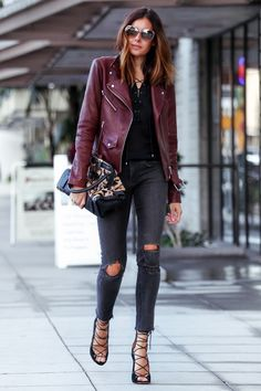 Leather Weather: Bordeaux and Black