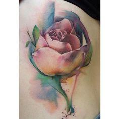 """Beautiful watercolor rose tattoo"