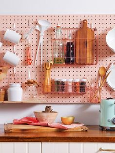 8 Ways to Create Extra Counter Space in a Tiny Kitchen : Kitchen Storage Ideas - Reduce Countertop Clutter Apartment Kitchen Storage Ideas, Diy Kitchen Storage, Storage Spaces, Pegboard Storage, Kitchen Pegboard, Kitchen Cupboards, Storage Baskets, Cabinets, New Kitchen