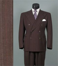 Vintage 1940s Mens Suit  1941 Brown w Pinstriping. My Da looked so handsome in these