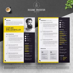 Minimal Yellow Resume / CV Template by ResumeInventor on @creativemarket Student Resume Template, Modern Resume Template, Creative Resume Templates, Cv Template, Resume Cv, Resume Design, Cover Letter Template, Letter Templates, Microsoft Word Document