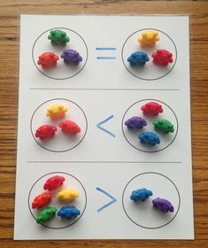 Use teddy bear counters to teach number comparison! Laminate the number comparison work mat without signs (see previous pin). Arrange bears in 3 sets of 2 groups each: one equal set, one less than set, and one greater than set. Give your child a dry-erase Preschool Learning, Kindergarten Activities, Teaching Math, Math For Kids, Fun Math, Math Games, Math Stations, Math Centers, Math Intervention