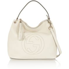 Gucci Soho Hobo large textured-leather shoulder bag (30,695 MXN) ❤ liked on Polyvore featuring bags, handbags, shoulder bags, white, gucci, shoulder strap bag, gucci purses, shoulder strap purses and zipper purse