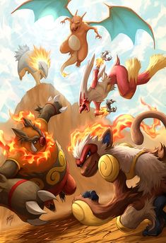 """Fire Blast"" (By http://kuroi-tsuki.deviantart.com/art/Fire-Blast-206590230) All the starter fire type pokemon"