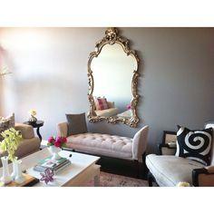 living room progress. gold mirror is up! #homesensestyle