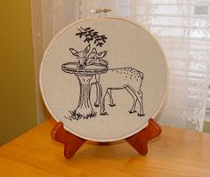 So Deer  hand embroidered hoop art by needleNme on Etsy, $14.00
