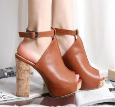Wholesale Western summer style buckle thick heel pumps CZ-0777 brown - Lovely Fashion
