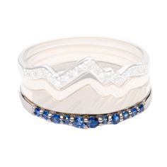 Teton Stacking Ring Snake River Double Stack Sapphire Band