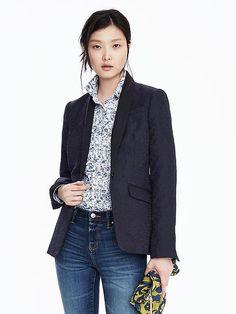 Jacquard Shawl Collar Blazer