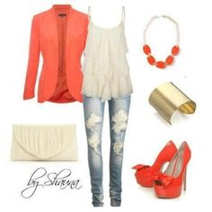f5d303fa293a luv the coral shoes and blazer paired with jeans look