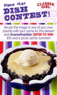 Re-pin this image and give this dessert a name, but be sure to use #namethatdish! We already have some great entries! Who doesn't want to win a picnic set and $50?