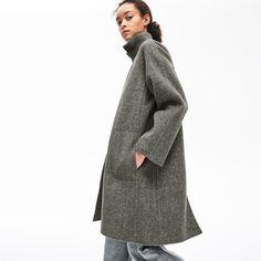 Lacoste Women's Standup Collar Wool-blend Zip Coat In Brown Lacoste Clothing, Colar Fashion, Wool Coat, Stand Up, World Of Fashion, Wool Blend, Normcore, High Neck Dress, Zip