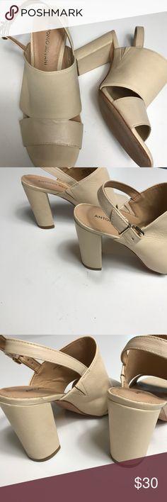 "Nude Chunky Heels Great Nude Wedges Leather Great Condition 3""Heel ANTONIO MELANI Shoes Heels"